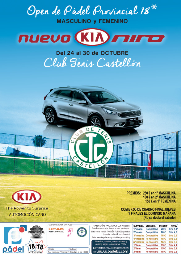 Open Provincial CS 18* y FEM18* Club de Tenis Castellón. 24-29/Oct.