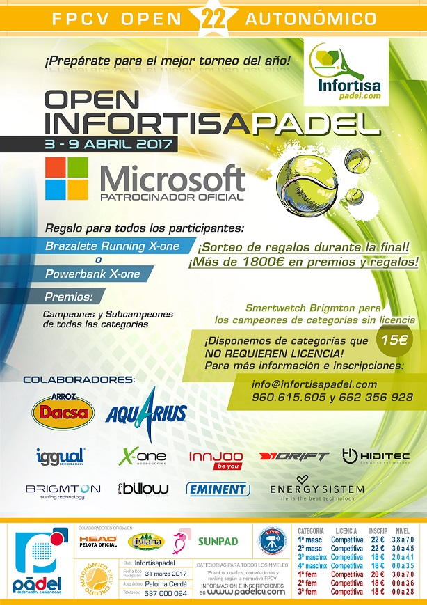 Open Autonómico 22* Infortisa Padel. 3-9/abril.