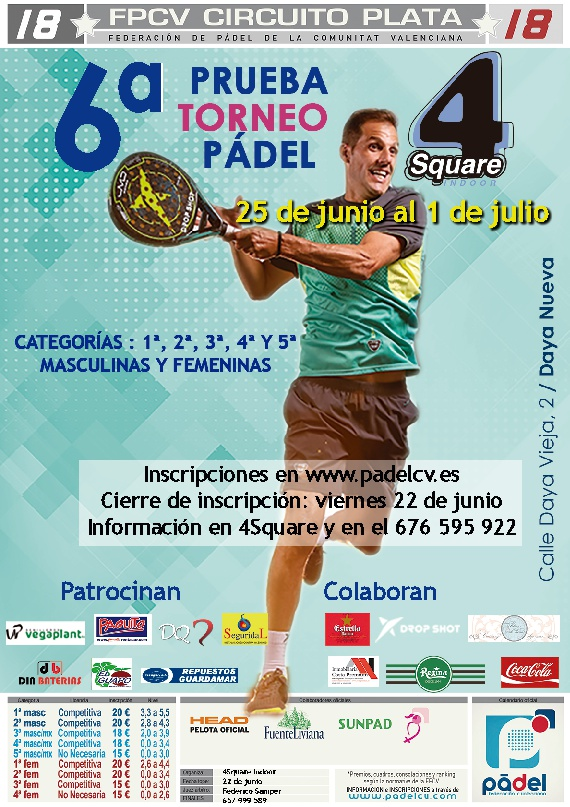 CIRCUITO PLATA 18* Y FEM18* 4 SQUARE INDOOR. 25/Junio-1/Julio.