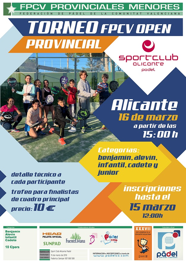 TORNEO PROVINCIAL DE MENORES SPORT CLUB ALICANTE FUN AND FAMILY. 16/Marzo